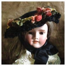 19C Velvet Decorated Bonnet With Millinery Label