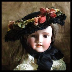 19C Velvet Decorated Bonnet With Millinery Label