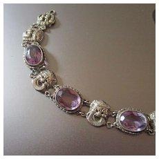 Art Deco Renaissance Revival Sterling Amethyst Bracelet With Masks