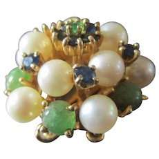 Beautiful Jeweled 14K Clasp Pearls Jade Emeralds Sapphires