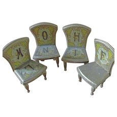 4 Bliss Chromolithographed Alphabet Chairs - Red Tag Sale Item