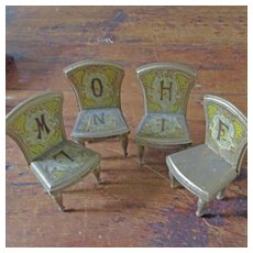4 Bliss Chromolithographed Alphabet Chairs