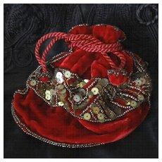 Victorian Velvet Beaded Purse For Doll Original Box