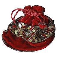Victorian Velvet Beaded Reticule For Doll Original Box