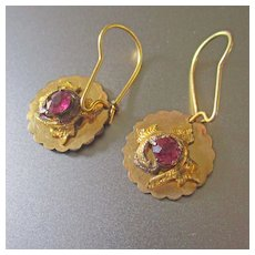 Dainty Gold Plated Amethyst Glass Earrings