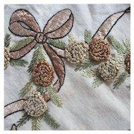 Antique Silk Thread Remnant Pinecone Pine Needles