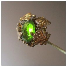 Victorian Gilt Hatpin Bright Green Stone