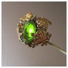 Victorian Gilt Hatpin Bright Green Stone