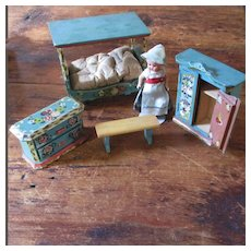 W.German Dollhouse Set With Country Doll 4 Pieces Furniture