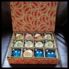 Vintage Mica Encrusted Indented Ornaments George Franke Sons Box