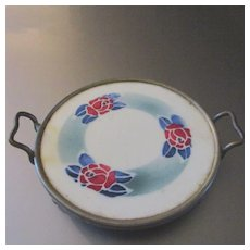 Porcelain Stenciled Tea Tray Roses
