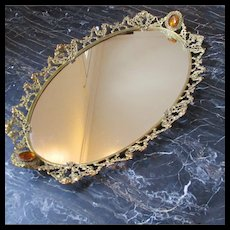 Huge Ormolu Vanity Perfume Tray Cherubs Jeweled Handles