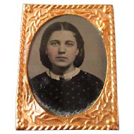 Victorian Tiniest Tin Type For Dollhouse Hand Colored