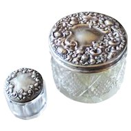 Sterling Covered  Vanity Jars Two Sizes