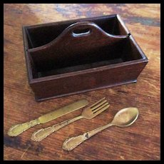 Miniature Cutlery or Letter Wood Tray With Doll Cutlery