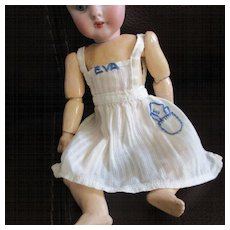 "Darling Vintage Pinafore For Mignonette Hand Stitched ""Eva"" Monogram"
