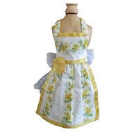 Vintage Linen Silk Apron Pinafore Smaller Doll