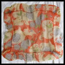 Cutest Art Deco Small Chiffon Ruffled French Hanky