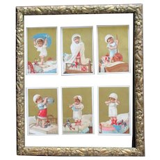Rare Set 19C French Cards Baby With Doll For Framing
