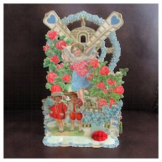 Victorian Germany Pop Up Valentine Cherub & Children Roses