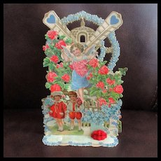 Victorian Germany Pop Up Valentine Cherub & Children Roses