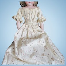 Print Gown China Doll Civil War Era Calico