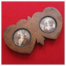 Art Deco Walnut Double Hearts Frame Cherubs