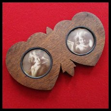 Art Deco Walnut Double Hearts Frame Cherubs