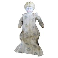 """Hertwig """"Pet"""" Low Brow China Doll On Kid Body Pretty Floral Gown"""