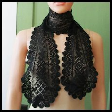 Beautiful Black Lace Silk Linen Very Long Lappets Scarf/Shawl