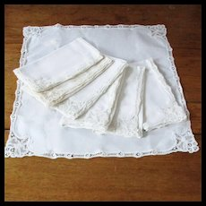 7 Lace Linen Needle Work Napkins