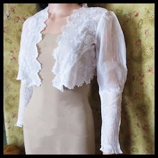 Antique Edwardian Embroidered Lace Jacket