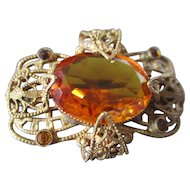 Filigree Bohemian Citrine Sash Pin