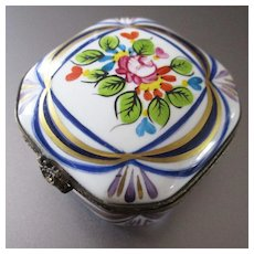 Limoges Octagonal Hand Painted French Provincial Floral Ring Box Signed