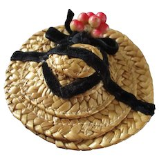 Vintage Straw Hat Berries Ribbons For Mignonette