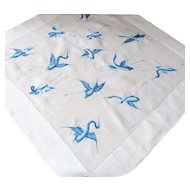 Embroidered Table Cloth Flying Cranes Blues