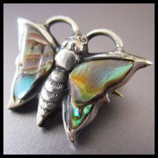 Tiniest Mother of Pearl Sterling Butterfly Brooch For Doll