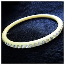 Art Deco 30's Cream Corn Celluloid Domed Bangle Rhinestones