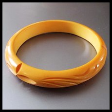 Carved Butterscotch Bakelite Bangle Bracelet