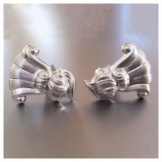 "Wallace Sterling ""Romance of the Sea"" Cufflinks Mid Century"