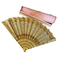 Antique Hand Painted Roses French Fan With Box Faucon Paris