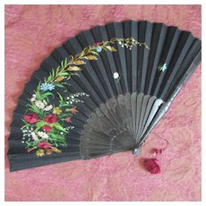 "Victorian Black Silk 15"" Fan Floral Needlework Silk Tassel"
