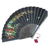 "Victorian Black Silk 15"" Fan Floral Needlework Silk Tassel"