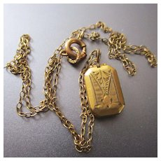 """Tiny 3/8"""" Doll Locket  Louis Stern Gold Filled"""