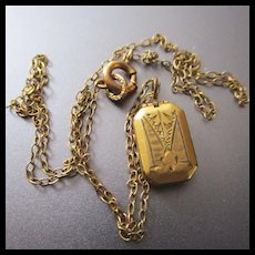 "Tiny 3/8"" Doll Locket  Louis Stern Gold Filled"
