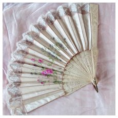 Lovely Silk Hand Painted Fan With Lace