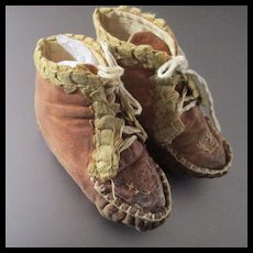 Old Soft Leather Embroidered Booties With Braid