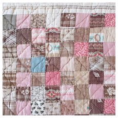 19C Patchwork Doll Quilt Pastel Pinks
