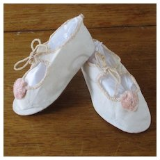 Vintage Linen Leather Doll Slippers Pink Pom Poms