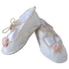 Vintage Linen Leather Doll Slippers Pink Pom Poms